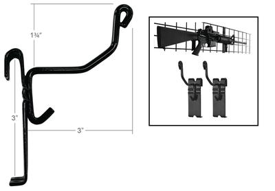 Gun Storage Solutions Firearm Hangers, Gridwall Gun Cradles, Vinyl Coated, Black GRIDGCrdL10