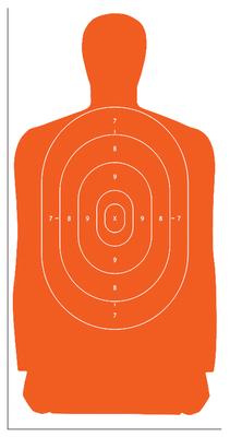 Action Target B-27S Standard Target, Full Size Orange Silhouette, 24