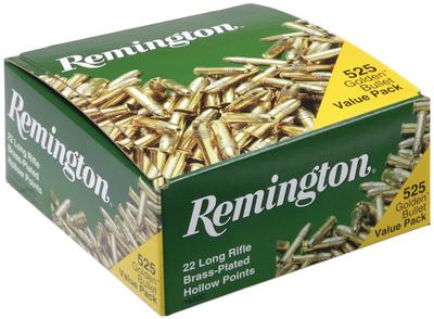 Remington Ammunition 1622C Golden Bullet 22 LR 36 GR Plated Hollow Point 525 Bx/ 12 Cs