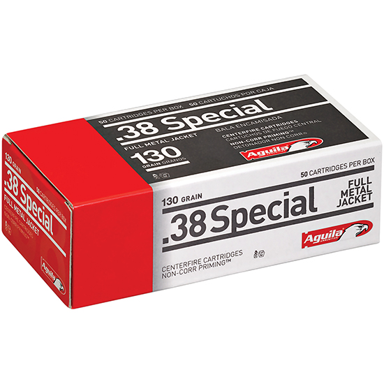Aguila 1E382521 38 Special 130 GR Full Metal Jacket 50 Bx| 20 Cs