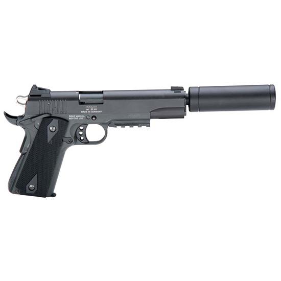 GSG German Sports Guns 1911ADOP GSG 1911 with Fake Supressor Single 22 Long Rifle (LR) 5 10+1 Black Synthetic Grip Black Zinc Alloy in.