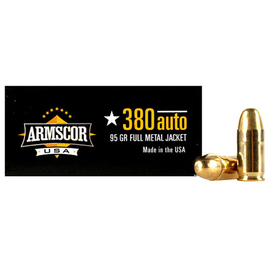 Armscor FMJ 95 Grain Brass .380 ACP 50Rds