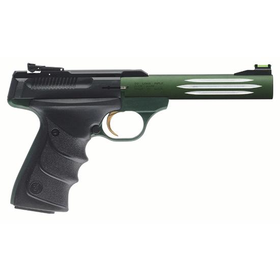 Browning 051459490 Buck Mark Lite *CA Compliant* 22 Long Rifle (LR) Single 5.5 10+1 Black Ultragrip RX Grip Green Aluminum Alloy Frame Black Aluminum Alloy Slide in.