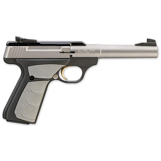 Browning 051483490 Buck Mark Camper 22 Long Rifle (LR) Single 5.5 10+1 Gray Ultragrip FX Grip Black Aluminum Alloy Frame Stainless Slide in.