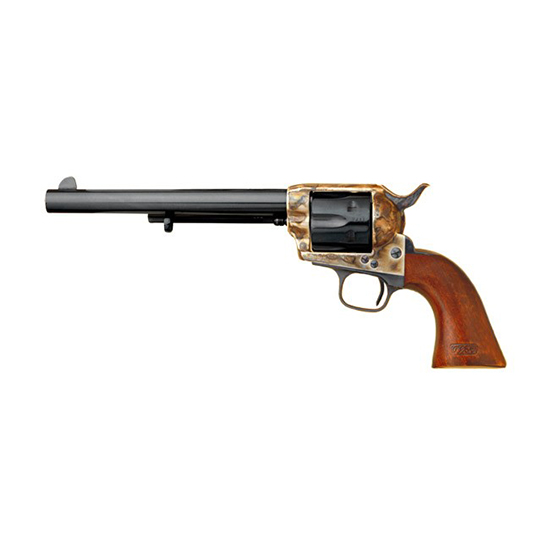 Cimarron CA514M00 Model P US Cavalry Revolver 45 Colt (LC) 7.5 Walnut w|OWA Caratouche Grip Blued in.