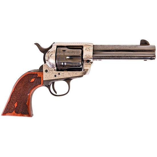 Cimarron PP410LSFW Frontier Pre-War 1896-1940 Laser Engraved Revolver 45 Colt (LC) 4.75 Checkered Walnut Grip Blued in.