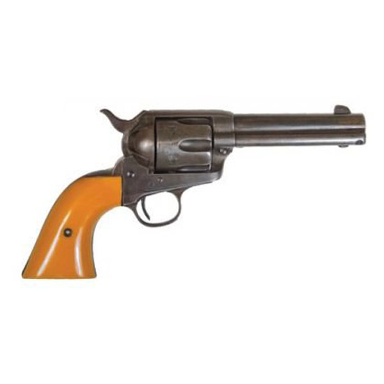 Cimarron RS410 Rooster Shooter Hollywood Series Revolver 45 Colt (LC) 4.75 Orange Finger Grooved Grip Original Finish in.