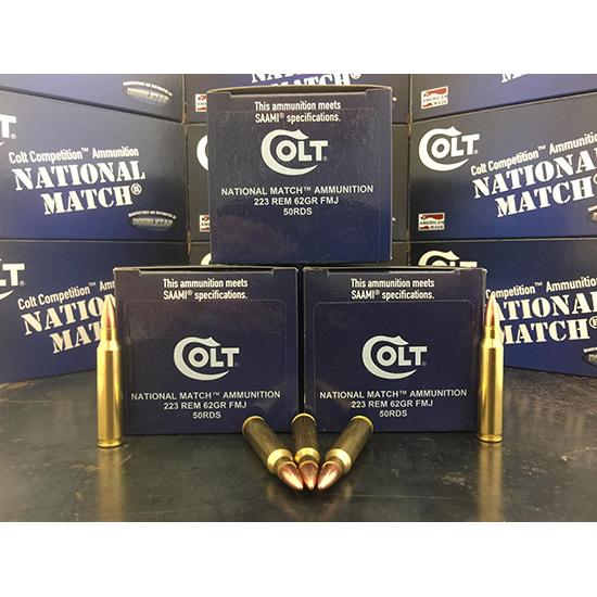 Colt Ammo 223R62FMJCT National Match 223 Rem|5.56 NATO 62 GR FMJ 50 Bx| 20 Cs
