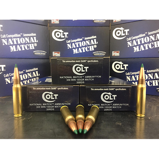 Colt Ammo 308W155CT National Match 308 Win|7.62 NATO 155 GR Match 20 Bx| 50 Cs
