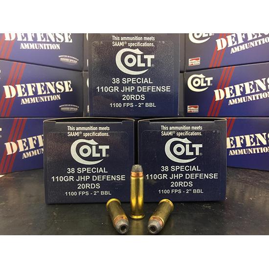 Colt Ammo 38SP110CT Defense 38 Special 110 GR JHP 20 Bx| 50 Cs