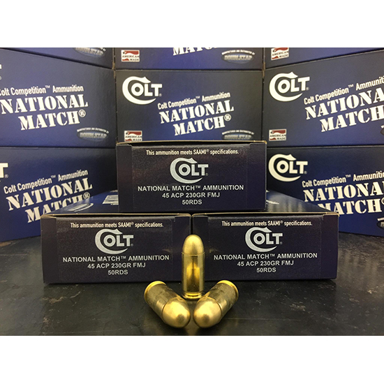 Colt Ammo 45A230FMJCT National Match 45 ACP 230 GR FMJ 50 Bx| 20 Cs
