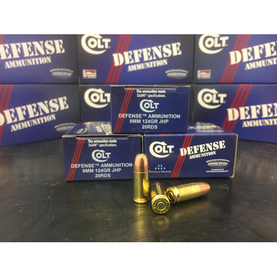 Colt Ammo 9M124CT Defense 9mm Luger 124 GR JHP 20 Bx| 50 Cs