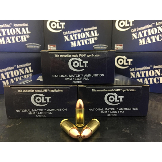 Colt Ammo 9M124FMJCT National Match 9mm Luger 124 GR Full Metal Jacket 50 Bx| 20 Cs