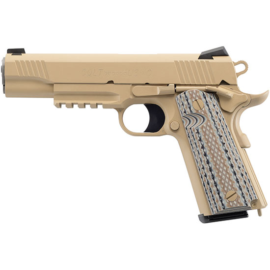 Colt Mfg O1070CQB 1911 Government Limited Edition Single 45 Automatic Colt Pistol (ACP) 5 8+1 Black G10 Grip Flat Dark Earth in.