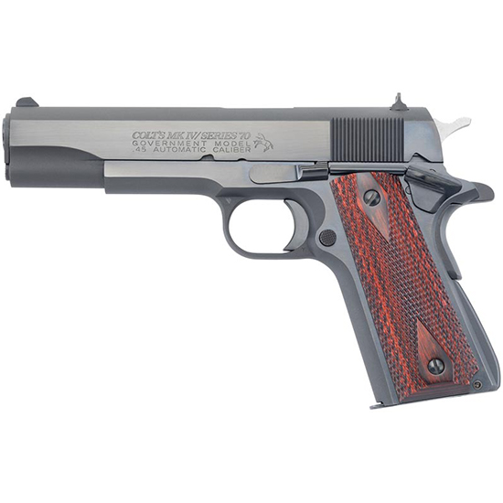 Colt Mfg O1970A1CS 1911 Government Series 70 Single 45 Automatic Colt Pistol (ACP) 5 7+1 Rosewood Grip Blued Carbon Steel in.