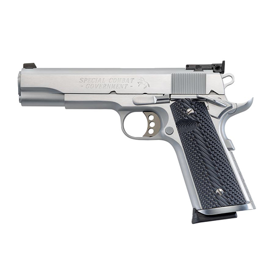 Colt Mfg O1970CM 1911 Special Combat Government 45 Automatic Colt Pistol (ACP) Single 5 8+1 Black|Silver Composite Grip Stainless Steel Slide in.