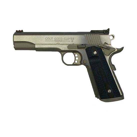 Colt Mfg O5072XE 1911 Gold Cup Trophy Single 9mm Luger 5 9+1 FOF Blue G10 w|Logo Grip Stainless Steel in.