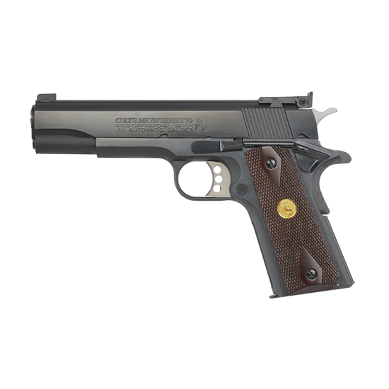 Colt Mfg O5870A1 1911 Gold Cup National Match Series 70 SAO 45 ACP 5 8+1 Rosewood Grip Blued in.
