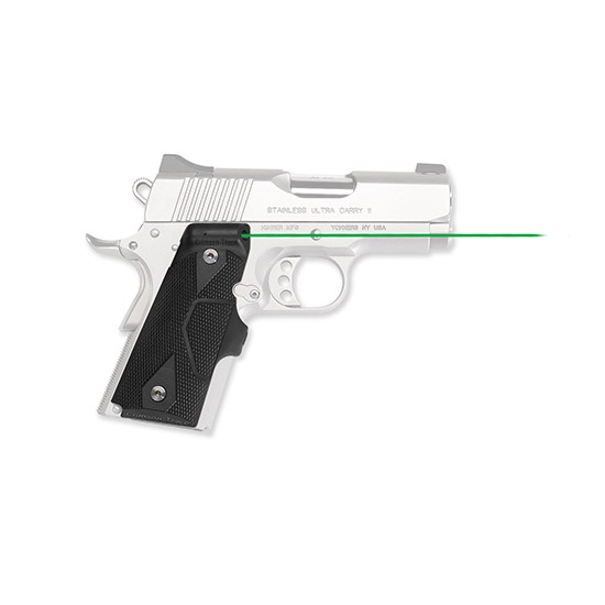 Crimson Trace LG404G Lasergrips 1911 Compact|Front Activation Green Laser Officer|Defender Grip