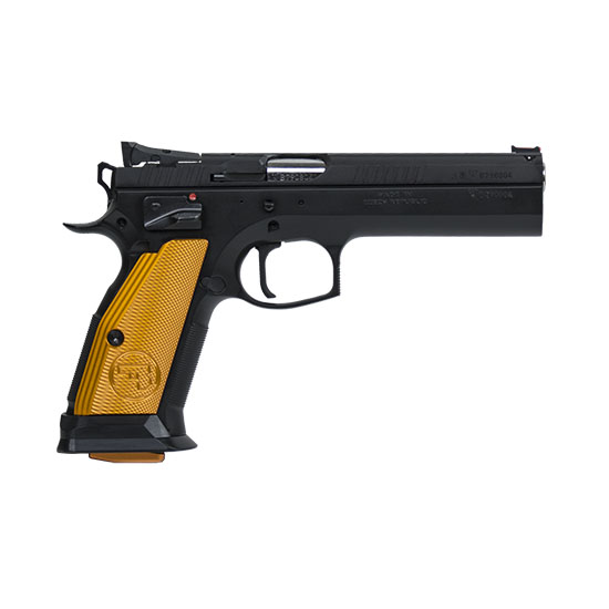CZ 91260 CZ 75 Tactical Sport Single 40 Smith & Wesson (S&W) 5.4 17+1 Orange Aluminum Grip Blk in.