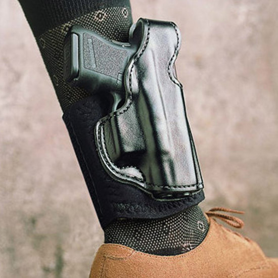 Desantis Gunhide 014PCU7Z0 Die Hard Ankle Rig S&W Bodyguard 380 Leather Sheepskin Padding Blk