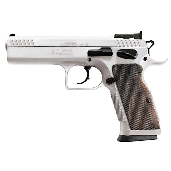 EAA 600612 Witness Elite Stock 2 45 ACP Single|Double 4.5 10+1 Checkered Walnut Grip Chrome Competition Frame Chrome Slide in.