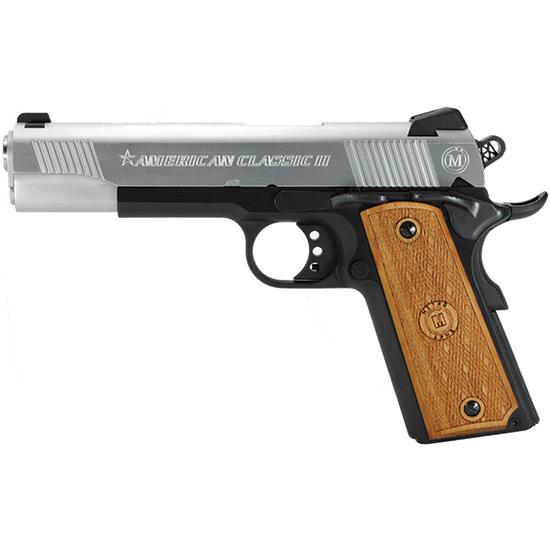 American Classic AC45G2DT 1911 Classic II Single 45 Automatic Colt Pistol (ACP) 5 8+1 Hardwood w MAC Logo Grip Hard Chrome in.