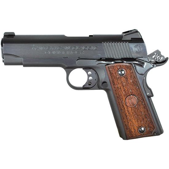 American Classic ACC45B 1911 Commander Single 45 Automatic Colt Pistol (ACP) 4.25 8+1 Hardwood w MAC Logo Grip Blued in.