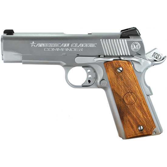 American Classic ACC45C 1911 Commander Single 45 Automatic Colt Pistol (ACP) 4.25 8+1 Hardwood w MAC Logo Grip Hard Chrome in.