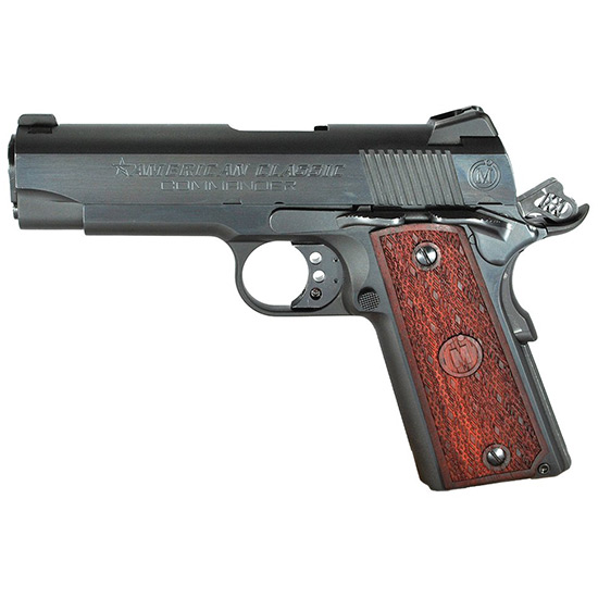 American Classic ACCC45B 1911 Compact Commander Single 45 Automatic Colt Pistol (ACP) 4.3 7+1 Hardwood Grip Blued in.
