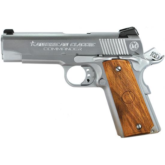 American Classic ACCC45C 1911 Compact Commander Single 45 Automatic Colt Pistol (ACP) 4.25 7+1 Hardwood Grip Hard Chrome in.