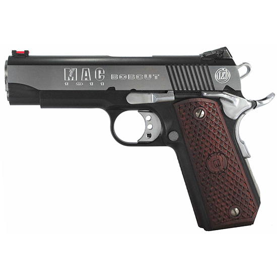 MAC M19BC45BC 1911 Bobcut SAO 45 ACP 4.25 8+1 Hardwood w|Logo Blk Chrome in.