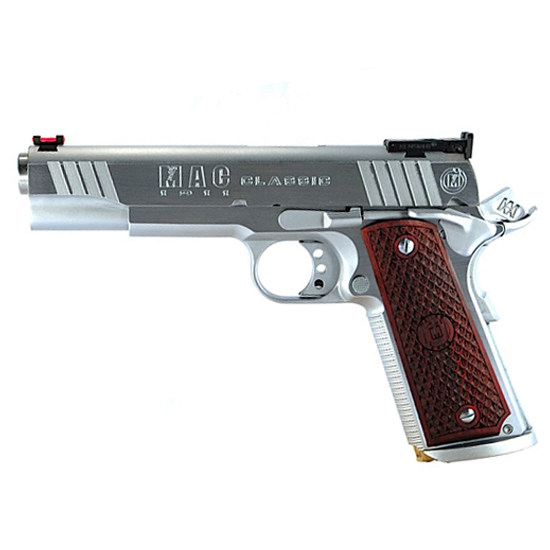 MAC M19CL45BC 1911 Classic SAO 45 ACP 5 8+1 Hardwood w|Logo Blk Chrome in.