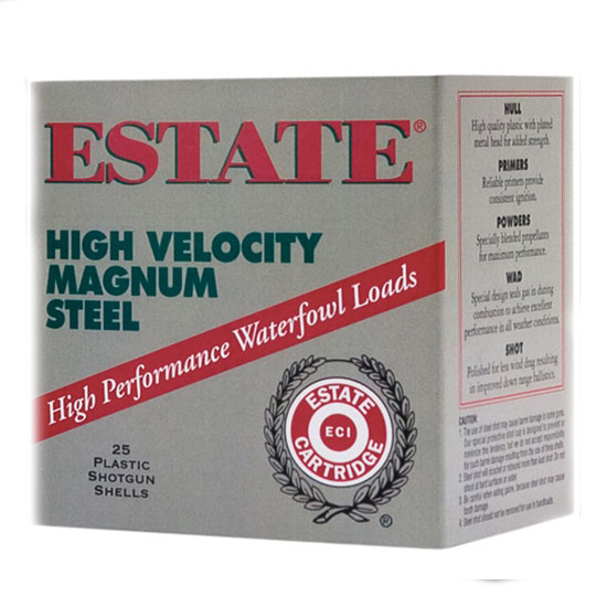 Estate HVST12 High Velocity 12 Ga 2.75 1-1 8 oz 3 Shot 25 Bx  10 Cs in.