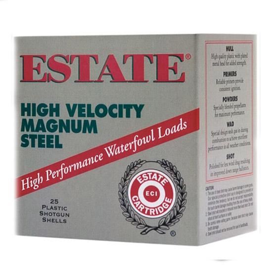 Estate HVST12MM High Velocity Magnum Steel 12ga 3 1-3|8 oz 4 Shot 25Box|10Case in.