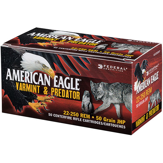 Federal AE2225050VP American Eagle Varmint & Predator 22-250 Remington 50 GR Jacketed Hollow Point 50 Bx| 5 Cs