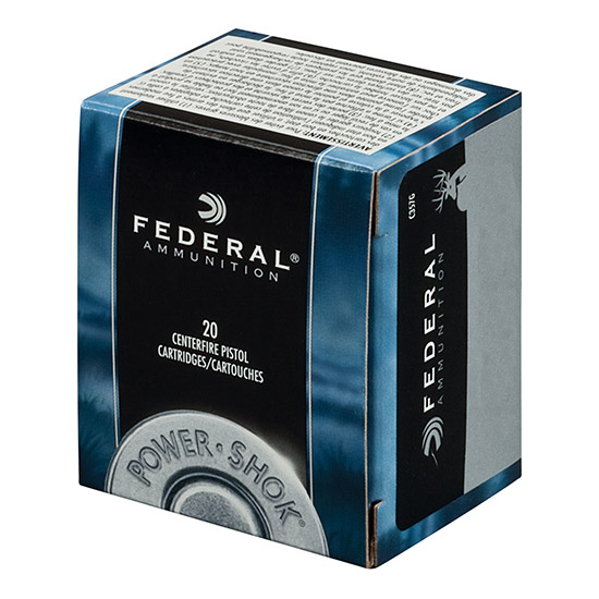 Federal C44B Power-Shok Medium Game Handgun 44 Remington Magnum 180 GR Jacketed Hollow Point 20 Bx| 25 Cs