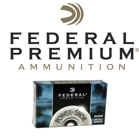 Federal F1274B Power-Shok Buckshot 12 Gauge 2.75 27 Pellets 4 Buck Shot 5 Bx| 50 in.