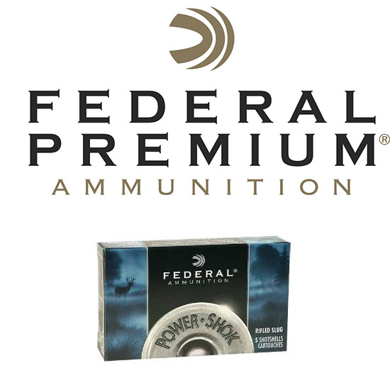 Federal F127RS Power-Shok Rifled Slug 12 Gauge 2.75 1 oz Slug Shot 5 Bx| 50 Cs in.