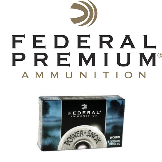 Federal F13000 Power-Shok Buckshot 12 Gauge 2.75 12 Pellets 00 Buck Shot 5 Bx| 50 in.
