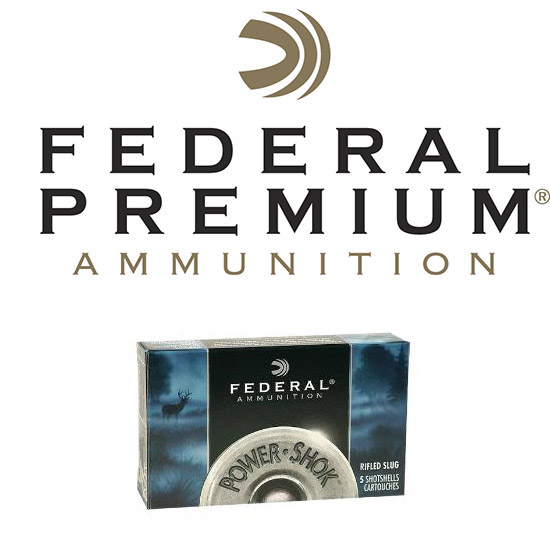 Federal F131RS Power-Shok Rifled Slug 12 Gauge 3 1-1|4 oz Slug Shot 5 Bx| 50 Cs in.
