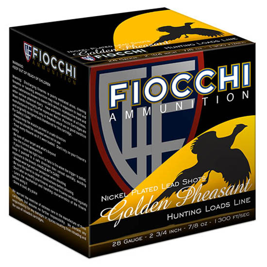 Fiocchi Ammo 283GP75 28 Gauge Golden Pheasant, 3 in. , 1 1|16 oz, 7.5 Shot, Per 25