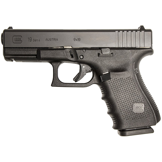 Glock PG1950201MOS G19 Gen 4 Compact MOS Double 9mm Luger 4.01 10+1 Black Interchangeable Backstrap Grip Black in.