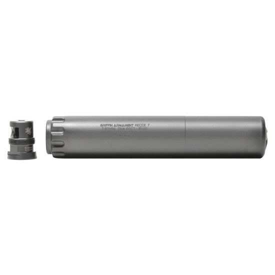 Griffin Armament Recca 7 30 Cal Suppressor Taper Black 7.6 inch 17-4 Staineless Steel