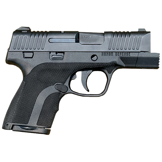 Honor Defense HG9SCF Honor Guard Sub-Compact FIST Double 9mm +P 3.2 7+1|8+1 Blk Polymer Grip Black in.