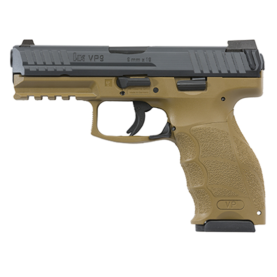 HK 700009FDEA5 VP9 *MA Compliant* 9mm Luger Double 4.09 10+1 Flat Dark Earth Interchangeable Backstrap Grip Black Slide in.