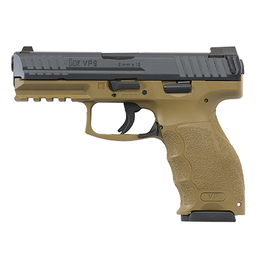 HK 700009FDELEL VP9 FDE 9mm Luger Double 4.09 10+1 Flat Dark Earth Interchangeable Backstrap Grip Black Slide in.