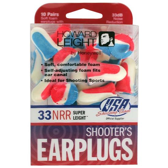 Howard Leight R01891 Super Leight Earplugs USA Shooters Earplugs 33 dB Red|White|Blue