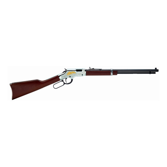 Henry H004GE Golden Eagle Silver Lever 22 Short|Long|Long Rifle 20 16 LR|21 Short American Walnut Stk Nickel Receiver|Blued Barrel in.