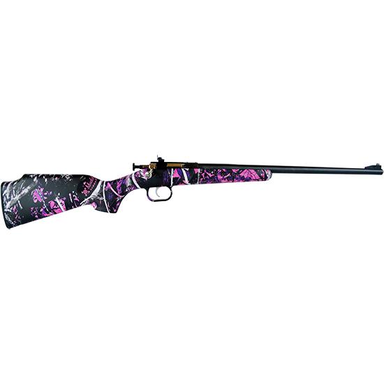 Crickett KSA2160PKG Single Shot Synthetic Package Bolt 22 Long Rifle (LR) 16.125 1 Scope Synthetic Muddy Girl Stk Blued in.